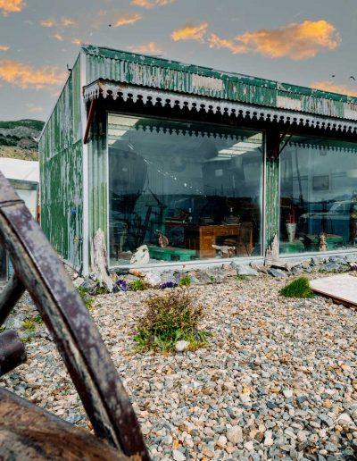 Museo y vista de rueda de carreta